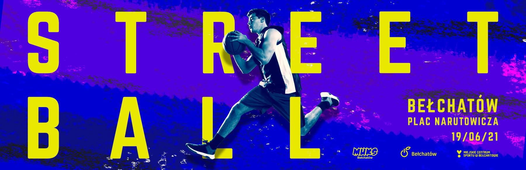 grafika promująca imprezę z koszykarzem między literami STREETBALL