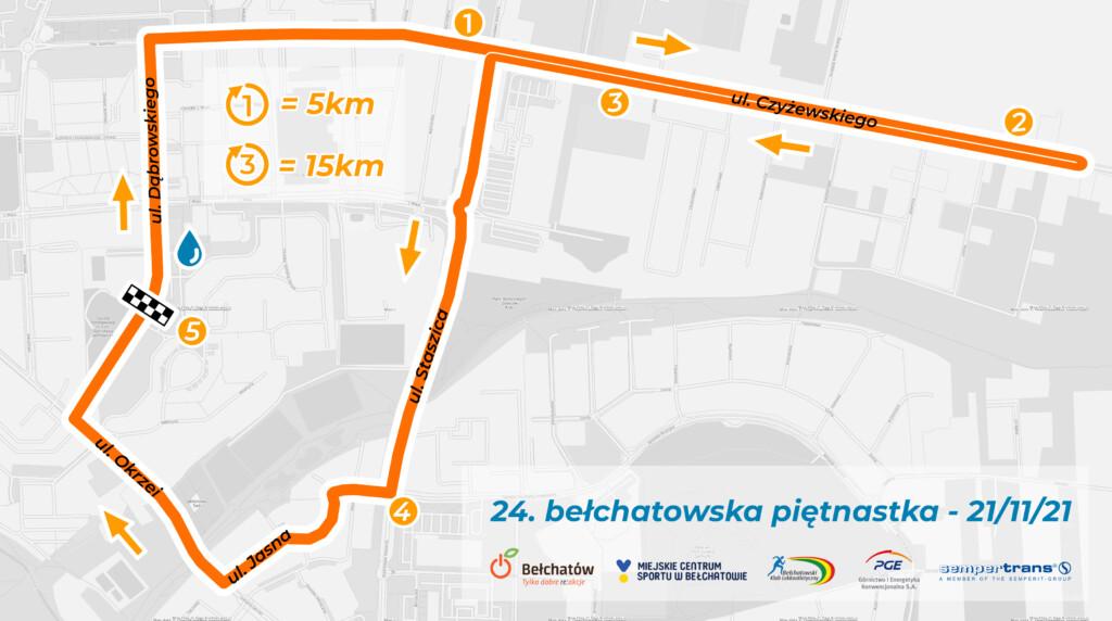Pan trasy ulicami Bełchatowa podczas biegu Piętnastka